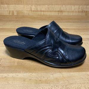 Clarks Bendables 62895 Black Leather Slide 7M